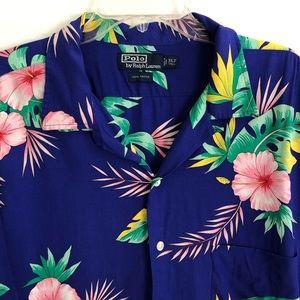 Polo RALPH LAUREN Floral Hawaiian Print Rayon  XLT